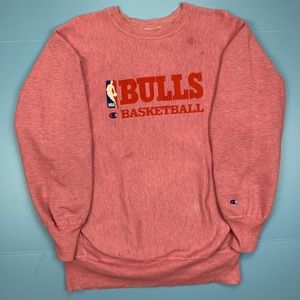 Vintage Champion Reverse Weave Bulls Pink Sweater